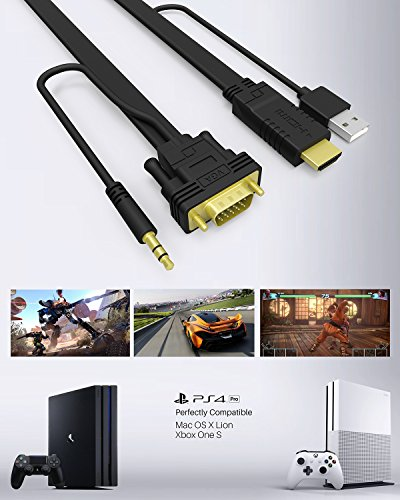 NewBEP HDMI to VGA Cable Adapter with Audio Cord and USB, 1080P HD 6ft/1.8m HDMI Male to VGA Male Converter Cord Support Apple Mackbook Sony PS2 PS3 PS4 Xbox Notebook PC DVD Player Laptop TV by NewBEP (Image #5)