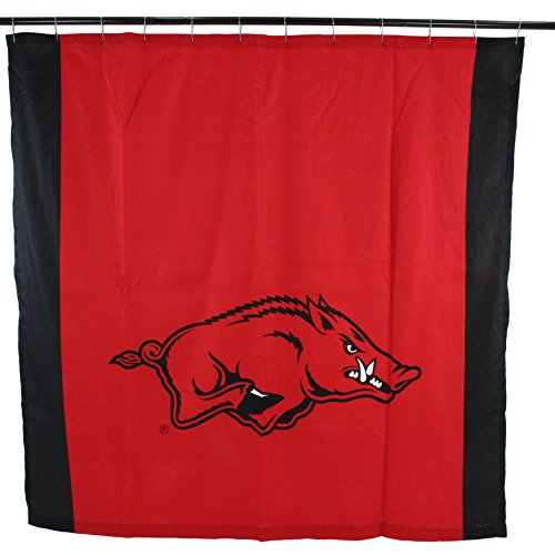 College Covers NCAA Arkansas Razorbacks Big Logo Shower Curtain, Red, 72