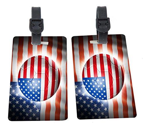 Brazil World Cup 2014 USA Team Football Soccer Flag Design Plastic Flexi Luggage Identifier Tags + Strap Closure