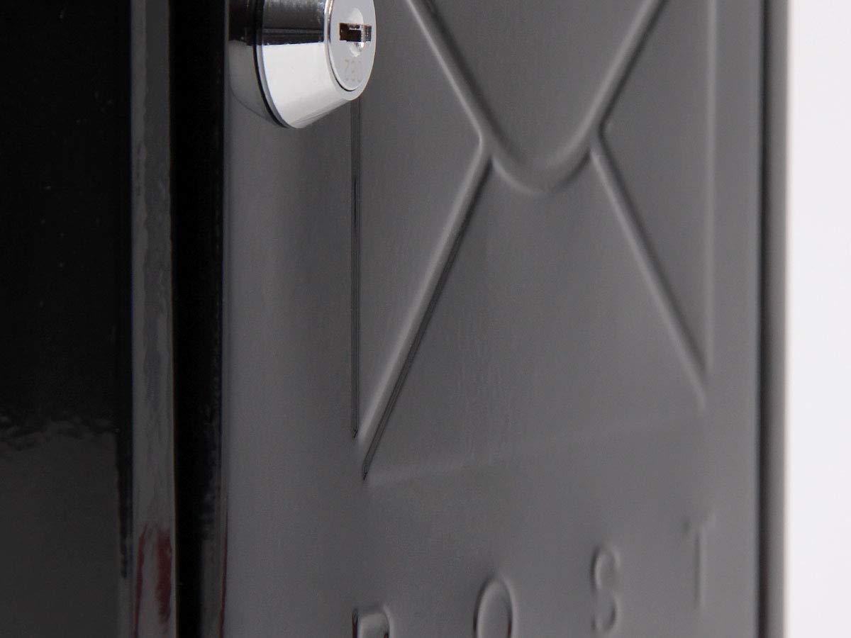 Alsino Briefkasten Postkasten Wandbriefkasten Stahlbriefkasten pulverbeschichtet Befestigungsmaterial inklusive BRK-66011 schwarz 2 Schl/üsseln