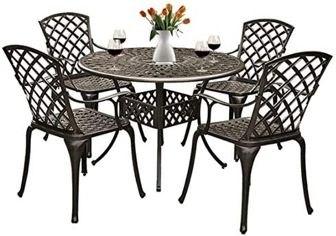 Grepatio 5 Piece All Weather Cast Aluminum Dining Set