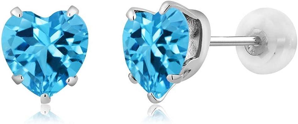 14K White Gold Plated 2ct TGW Genuine Blue Topaz Stud Earrings