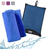 Bodi Towel Quick-Dry Lightweight Super-Absorbent Large Microfiber Towel, Blue, 130cm x 80cm