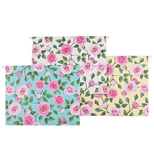 YOMA Fresh Flower Print Hanging File Folders Floral File Folders 12 Per (Pink Hanging File Folders)