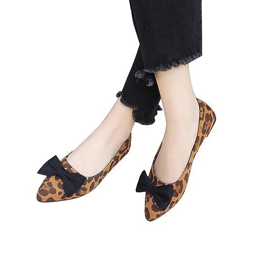 439d80049e118 Amazon.com: Women Ballet Flats Pointy Toe Leopard Print Suede ...