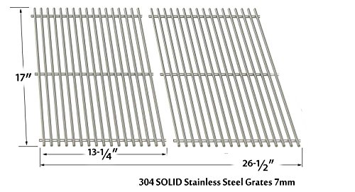 Stainless Steel Cooking Grid for Kenmore 122.16119, Kmart, Nexgrill, Uberhaus & Uniflame GBC091W, GBC940WIR, GBC956W1NG-C Gas Grill Models, Set of 2 (Patio Set Bar Kmart)