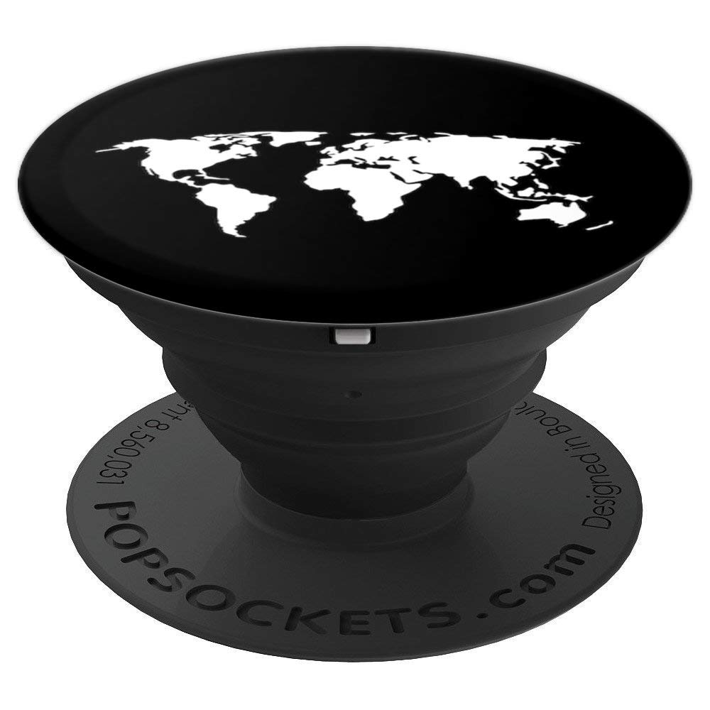 Black and White World Map, travel, adventure, vacation globe - PopSockets Grip and Stand for Phones and Tablets