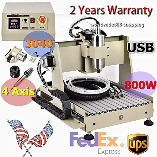 4 Axis CNC 3040 Router Engraver 800W Desktop Engraving Milling Drilling Milling Machine Drill Wood+Ball Screw Engraving for Advertising Signs, PCB, nameplates and Badges
