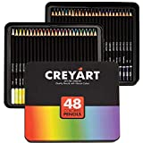 Creyart Colored Pencils Set of 48 – Pre-Sharpened Nontoxic Art Supplies for Kids and Adults - Soft and Thick Oil Based Leads – 48 Colors in Tin Box