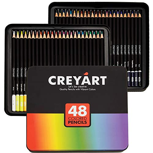 Creyart Colored Pencils Set of 48 - Pre-Sharpened Nontoxic Art Supplies for Kids and Adults - Soft and Thick Oil Based Leads - 48 Colors in Tin Box