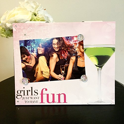(Girls Just Wanna Have Fun! women pink martini jeweled gift handmade magnetic picture frame holds 5