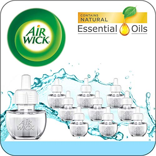 Air Wick Plug in Scented Oil 10 Refills, Fresh Waters, Eco Friendly, Essential Oils, Air Freshener (Air Wick Plug In)