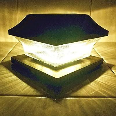 Solar Light,Post Cap Lights 4 x 4 Plus,Outdoor Decorations Bright 15 Lumen Warm White LED Lamp For Vinyl Posts Caps 3.5x3.5 4x4 5x5 Waterproof Sogrand Black Lantern For Fence Deck 2 Pack