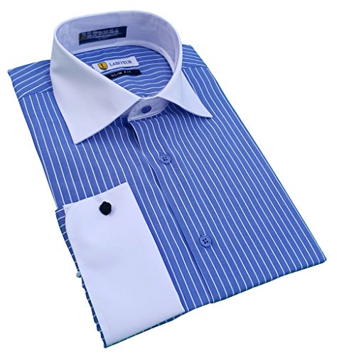 [Labiyeur Men's Slim Fit French Cuff Striped Dress Shirt 16.5 | 32-33 Blue/White Stripes] (Office Space Costume)