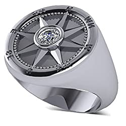 Men's Nautical Compass Fashion Diamond Ring Palladium (0.25ct) G-H, SI1-SI2