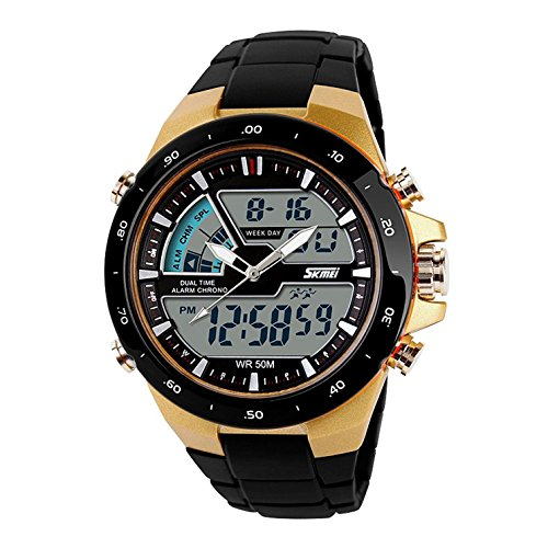 Carrie Hughes Men's Digital Watch 50M Waterproof Large Dual Dial Multifunction Analog Military Outdoor Sports Electronic Watch Calendar Day Date CH031 (Men For Shock Watches Proof)