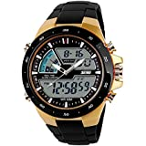 Carrie Hughes Men's Digital Sports Watch LED Back Light Large Face Water Resistant Military Watches Casual Luminous Alarm Simple Army Watch Gold CH031