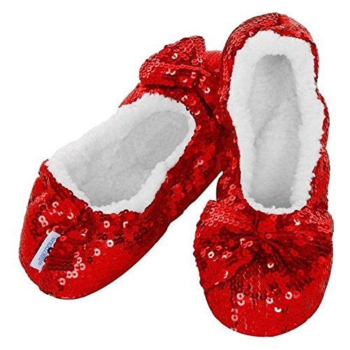 Rouge Red femme pour White Snoozies Chaussons qUAv00