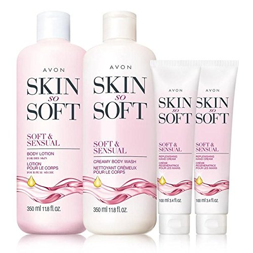 Avon Skin so Soft and Sensual Body Lotion Body Wash and lot of 2 Hand Cream (Avon Skin So Soft Soft And Sensual)