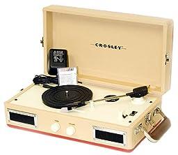Crosley CR40-RE Mini Turntable with Full-Range Stereo Speakers, Red & Cream