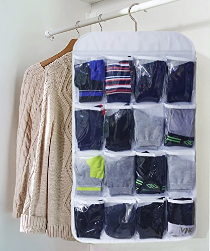 18 Classy Closet Storage Solutions For Your Clothes: Honla Dual-Sided Hanging Closet Organizer With 18 Clear