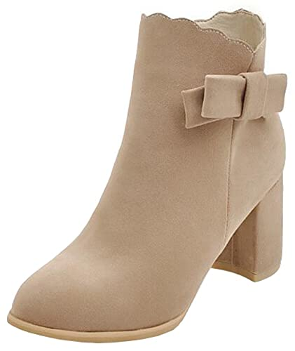 Women's Sweet Mid Chunky Heels Faux Suede Ankle Boots With Bows
