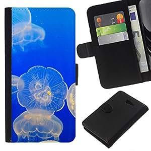 Planetar® Modelo colorido cuero carpeta tirón caso cubierta piel Holster Funda protección Para Sony Xperia M2 ( Las medusas océano azul que brilla intensamente Mar Naturaleza )
