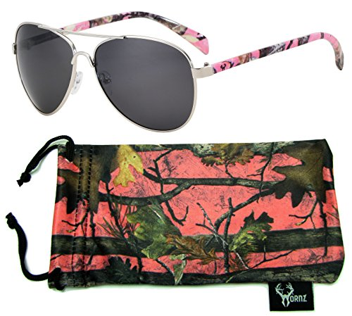 Hornz Pink Camouflage Polarized Aviator Sunglasses for Women & Free Matching Microfiber Pouch – Medium Size - Pink Camo Frame - Smoke - Sunglasses Popular Brand