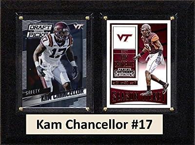 """NCAA Virginia Tech Hokies Men's Kam Chancellor Two Card Plaque, Brown, 6""""X8"""""""