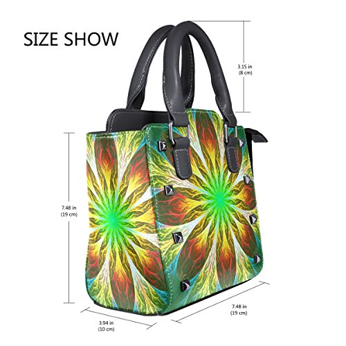 Handle Leather Yellow Green Flower TIZORAX And Top Shoulder Handbags Fractal Women's PU Bags UHAqRwqfn