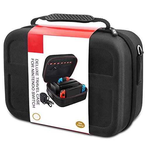Carrying Storage Case for Nintendo Switch, Hard Shell Deluxe Travel Case fit Switch Console with Anti-shock & Waterproof, Black