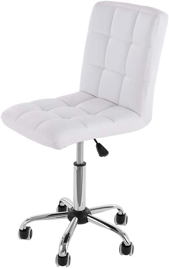 RYGHEWE Mid-Back Black Quilted Vinyl Swivel Modern Home Office Chair Without Arms US Stock (White)