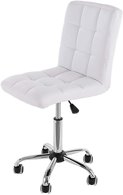 Amazon Com Armless Office Chair Ergonomic Desk Chair Modern Executive Adjustable Mid Back Pu Leather Computer Chair Ribbed Swivel Chair For Home Office Conference Study Room White Kitchen Dining