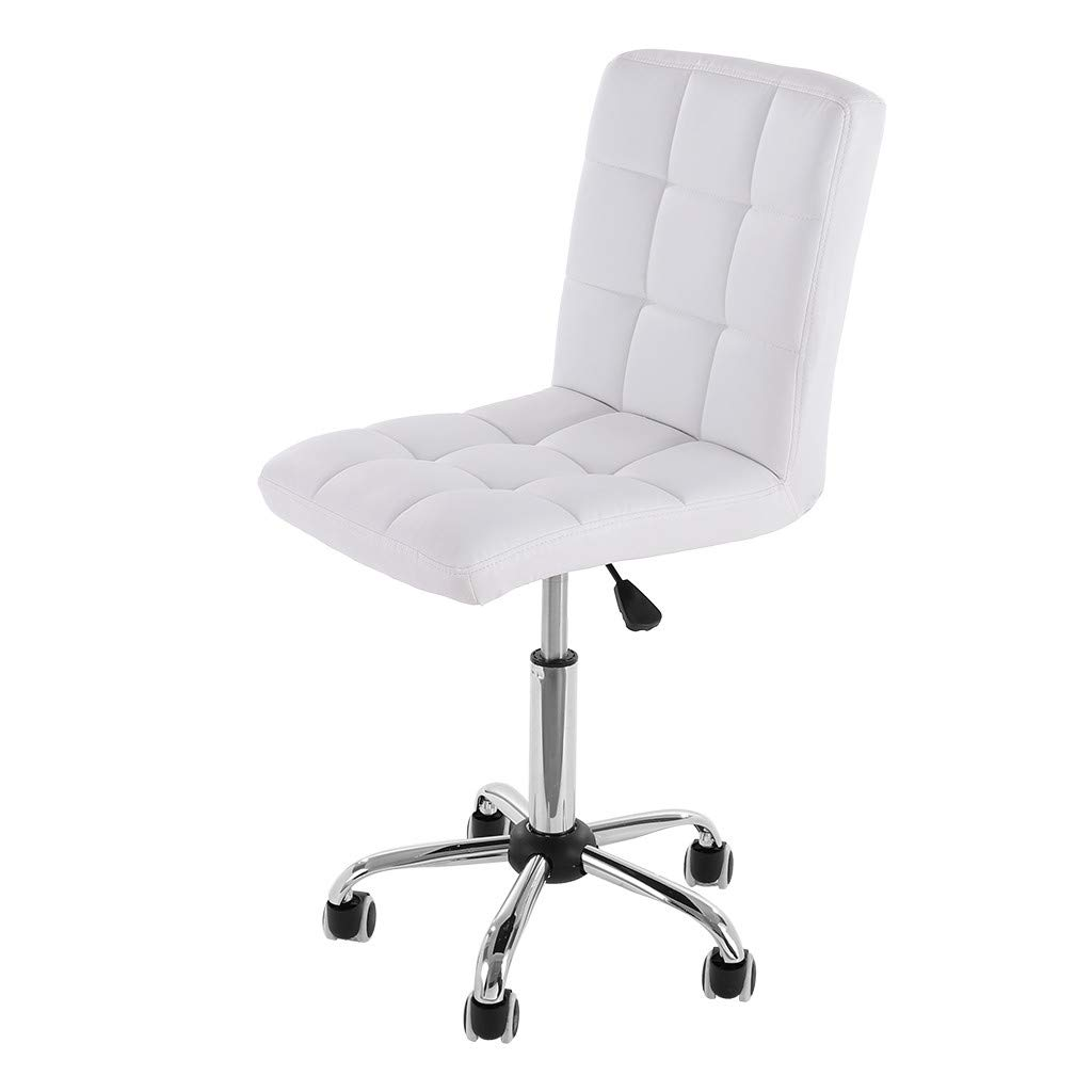 Sonmer No Arms Rest Tilt Lift Chair Office Chair, 360° Free Rotation, Aluminum Alloy Prong Base, Explosion-Proof Chassis, US Stock - Two-Day Shipping (White)