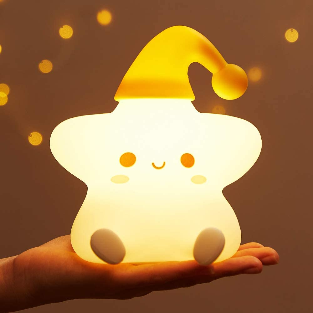 Star Night Light for Kids,Toddler Baby Nursery Led Color Changing Animal Room Lamp Birthday Gifts Teen Girls Battery Squishy Lights ,Portable Rechargeable Silicone Soft Decor Cute Bedroom Boys Women