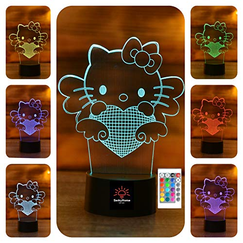 3D Night Lights for Kids 7 Colors 3D LED Illusion Lamp with Remote Control-Bedroom Table Lamp (Hello Kitty) -