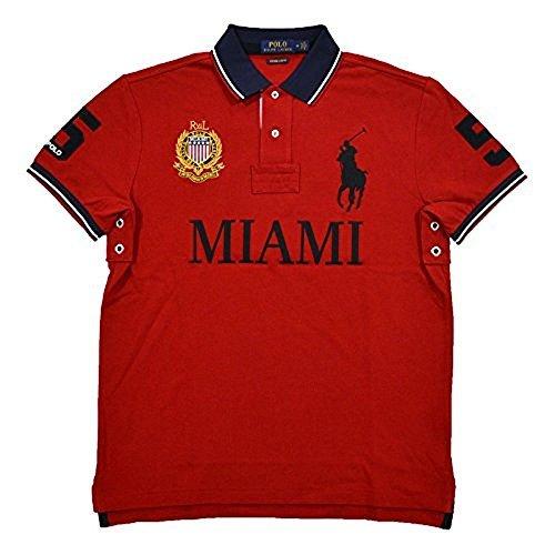 Polo Ralph Lauren Mens Custom Slim Fit Mesh City Polo Shirt (Medium, Red Miami)