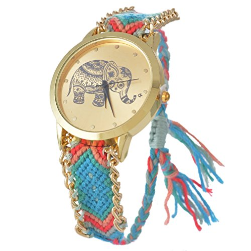Souarts Gold Color Elephant Round Dial Adjustable Weave Bracelet Wrist Watch Blue