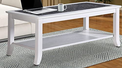 Olee Sleep 18 Marble Top Wood Edge Coffee Table End Table Side Table Dining Table Sofa Table TV Table Vanity Table Office Table Computer Table, Black White