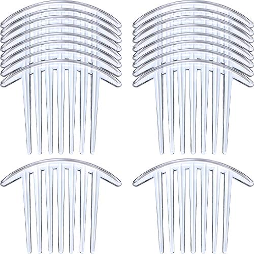 (20 Pieces 7 Tooth French Twist Comb Plastic Hair Clip Hair Side Combs Hair Accessory for Women Girls (Transparent))