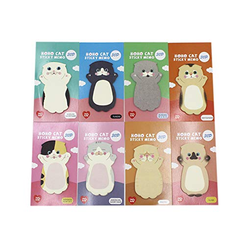 (Cute Cartoon Cat Sticky Notes Kitten Self-Stick Note Memo Pad Sets Gift for Cat Lovers Kids Students,Pack of 8)