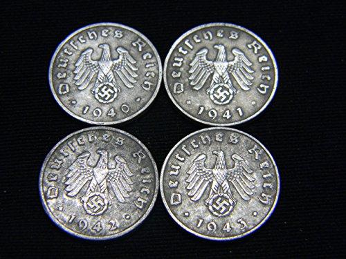 1942 Mint (Four (4) WWII German Reichspfennig Coins Dated 1940, 1941, 1942 &1943)
