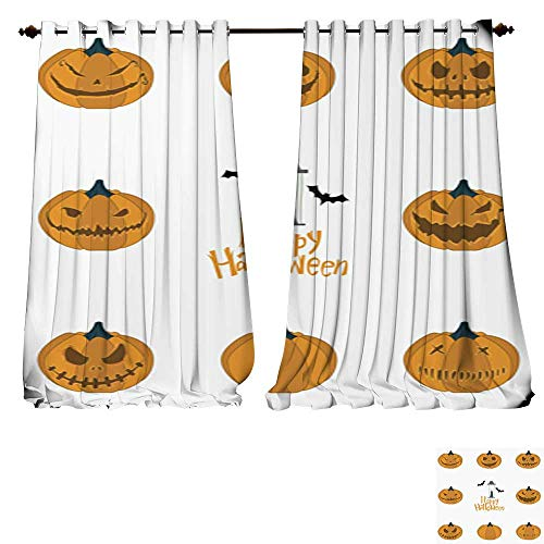 DESPKON-HOME Blackout DraperiesHalloween Pumpkin Carving Set Happy Halloween Typography Vector Blackout Draperies for Bedroom Kitchen -W84 x L96/Pair ()