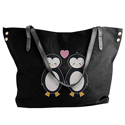 Women's Canvas Large Tote Shoulder Handbag Penguin Cute Couple Messenger Hobo Bag Tote by Cotyou-6