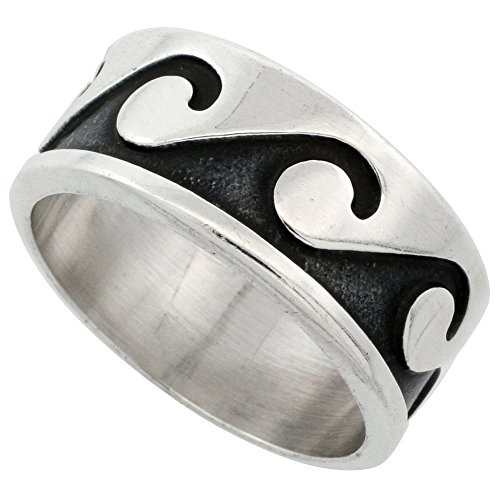 Sterling Silver Wave Ring Southwestern Design 3/8 inch wide, size 12