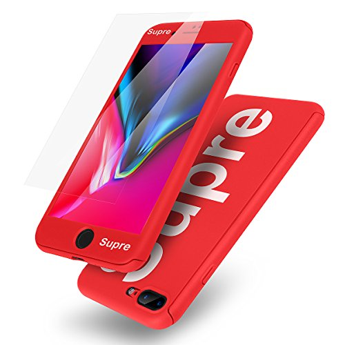 iPhone 8 Plus Case,AICase Ultra Thin Lightweight Supre Fashion Full Body Coverage Protection Soft PC [Dual Layer][Slim Fit] Case with Tempered Glass Screen Protector for Apple iPhone 8 Plus (Red)