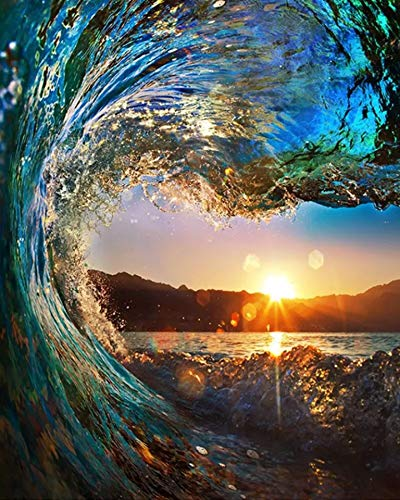 - Full Drill Diamond Painting Ocean Sunset by Number Kits, 5D DIY Diamond Embroidery Crystal Rhinestone Cross Stitch Paintings Pictures Arts Craft for Home Wall Decor (30X40CM)