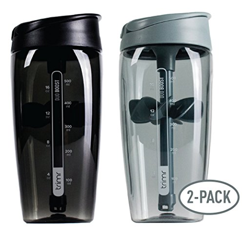TRIMR Shaker Bottle - Duo Boost 20 oz Protein Shaker Cup 2 Pack (Alloy and Stealth)