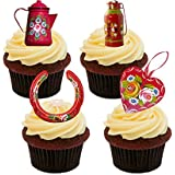 Canal Ware / Roses and Castles (Red Mix) Edible Cupcake Toppers - Stand-up Wafer Cake Decorations by Made4You