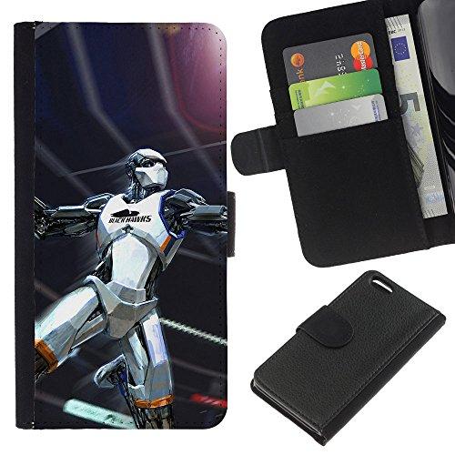 Funny Phone Case // Cuir Portefeuille Housse de protection Étui Leather Wallet Protective Case pour Apple Iphone 5C /Black Hawk Basketball/